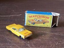 Vintage Matchbox Lesney #20 Yellow Chevrolet Impala Taxi Cab with Original Box