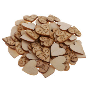 100pcs Rustic Wooden Wood Love Heart 20mm Wedding Table Scatter Decor Crafts