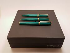 S.T. Dupont Fidelio Green Lacquer Pencil, Ballpoint Pen & Fountain Pen Set