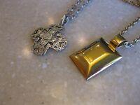 Lot of 2 PREMIER DESIGN Pendant Necklaces / Sleek Gold Tone, Ornate Pewter Tone
