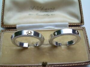 Fine Quality Large 9ct White Gold Hoop Earrings with Yellow Gold Nut Decoration