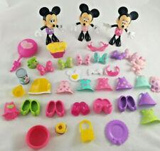 Disney Minnie Mouse Daisy Bow-Tique 38 Pc Lot Dolls Snap On Dresses Shoes Bows