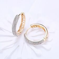 18K REAL GOLD FILLED HOOP EARRINGS MADE WITH SWAROVSKI CRYSTALS GIFT GF13