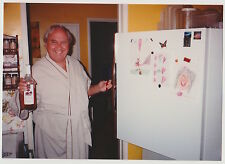 Vintage 80s PHOTO Man In Robe w/ Wine By Refrigerator