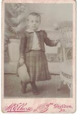 Cabinet Photo of Young Boy in Plaid Outfit holding Hat - Named from Sheldon, IA