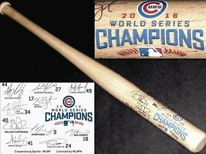 "CHICAGO CUBS 2016 WORLD SERIES CHAMPIONS MINI 18"" PLAYER SIGNATURES BASEBALL BAT"