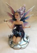 """Purple Wind Fairy w/ Baby Dragon and Crystal Ball New in Box #Wiq-77 6"""" Tall"""