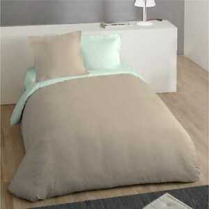 Parure housse couette vert/taupe 240 x 260 cm + taies percale 100 % coton neuf