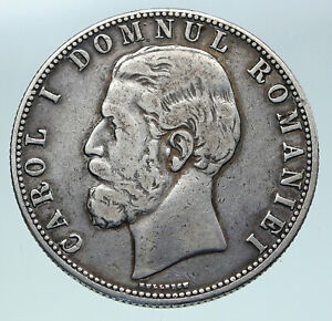 1880 ROMANIA with KING CAROL I & Shield Large ANTIQUE Silver 5 Lei Coin i86346