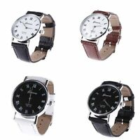 Fashion Unisex Wrist Watch Stainless Steel Analog Quartz Leather Band