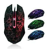 Professional 4000DPI Colorful Backlight Optical Wired Gaming Mouse Mice For PC