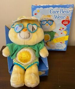 """Vintage 1980s Kenner Care Bears 12"""" Funshine Plush Bear & Sunny Swimsuit Outfit"""