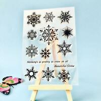 Snowflake Transparent Silicone Clear Rubber Stamp Cling Scrapbooking Card D N4E9