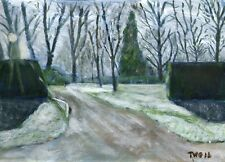 Terry George  painting of a frosty morning Heigham Park Norwich
