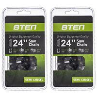 8TEN Chainsaw Chain 24 Inch .050 3/8 84 DL Stihl Husqvarna 3650 005 0084 2 Pack