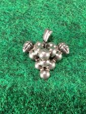 """Vintage Mexican Sterling Silver Bunch of Grapes 1 5/8"""" Brooch Pin 1940s Taxco #U"""