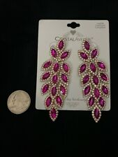 Leaf Nwt 3.5 Inches Earring Bridal Pageant Pink Crystal Goldtone