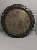 """VTG/Antique Silver Plate Tray 12 5/8"""" Round - Filigree Edge - Unbranded"""