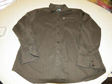 Volcom Tailored Mens L long sleeve button up Shirt brown striped EUC