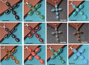 Labradorite & Mixed Gemstone 925 Sterling Silver Polished Cross Chain Pendants