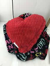 Plush Blanket and Red Heart Throw Pillow