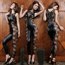 Sexy Women Lingerie Floral Lace PU Leather Sleepwear Underwear Bodysuit Babydoll