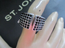 NEW ST JOHN KNIT SIZE 8  WOMENS DESIGNER JEWELRY SILVER RING  CRYSTAL