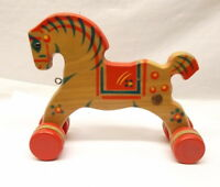 Vtg Gecevo Wooden Horse Pull Toy Germany Pull Along 1950s Painted VGC German