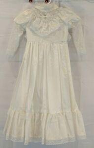 Girls Size 5/6? Cream Vintage Handmade Prairie Christening Dress Lace High...