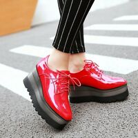 Women's Patent PU Leather Lace Up Wedge High Heel Platform Oxford Leisure Shoes