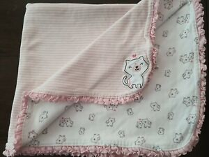 Carters Just One You Pink White Kitty Cat Lover Striped Ruffle lovey Blanket