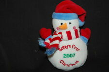 "Baby's First Christmas Snowman Rattle Red White Blue 2007 Plush 5"" Lovey Toy"