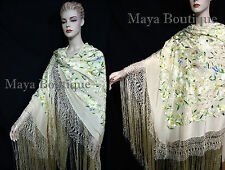 "Flamenco Embroidered Silk Piano Shawl Wrap Pastels Flower Birds Greens 90"" Maya"