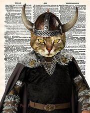 Viking Cat Art Print 8 x 10 - Dictionary Page - Pop Art - Nordic Kitty Norway