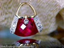 $810 SWEETHEART! CUTE 10K FANCY CUT BRIGHT RED RUBY DIAMOND PURSE NECKLACE