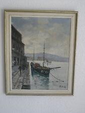 Vintage Pintura Al Óleo Original Cuadro En Lienzo « buque » firmado, Por P. Costa