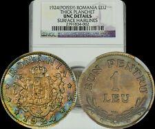 1924 Romania 1 Leu NGC UNC Details Rainbow Color Toned Gem