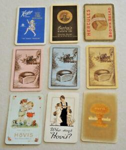 9 VINTAGE BREAD BISCUITS SWAP CARDS ADVERTISING HOVIS HERCULES HUGHES BURTONS #