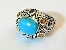 BEAUTIFUL Turquoise Sterling Silver Ring Multi Color Stones Maker SX 925