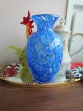 """Vintage Cobalt Blue Green White Murano Italian Art Glass Vase 8 1/2"""" tall"""