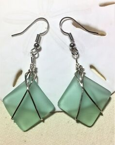 Sea Glass Earrings Mint Green Wire Wrapped Sea Glass Squares
