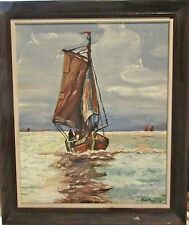 Vintage Original Framed Oil Painting - Sailboat - Signed M.J. Murray - Nautical
