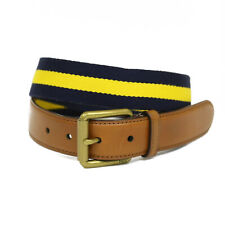Polo Ralph Lauren Cotton Canvas Belt w/ Leather - Navy/Yellow