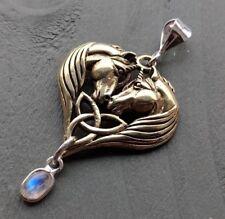 925 sterling silver & Bronze Lisa Parker unicorn & Rainbow Moonstone Pendant
