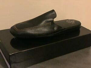 Leather Home Slippers For men Italian Soft Calfskin with a travel case In Box