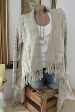 Sale Maglione Cardigan Giacca Vintage Creme-Nude Poncho Frange 36-40