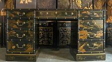 Vintage Drexel Heritage - Chinoiserie - Leather Top - Knee Hole Desk