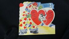 Vintage Circus Clown & Puppy Valentine Card c. 1940s unsigned