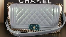 BNWT AUTH CHANEL LE BOY Medium Light Blue Pearl Patent Leboy Bag Silver HW 2016