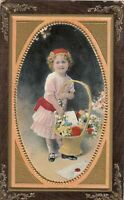 Vintage Postcard - Photo Girl holding Flower Basket -   made in Germany
